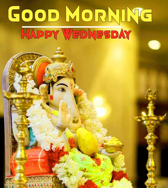 Ganesha Wallpaper with happy good morning and happy wednesday message