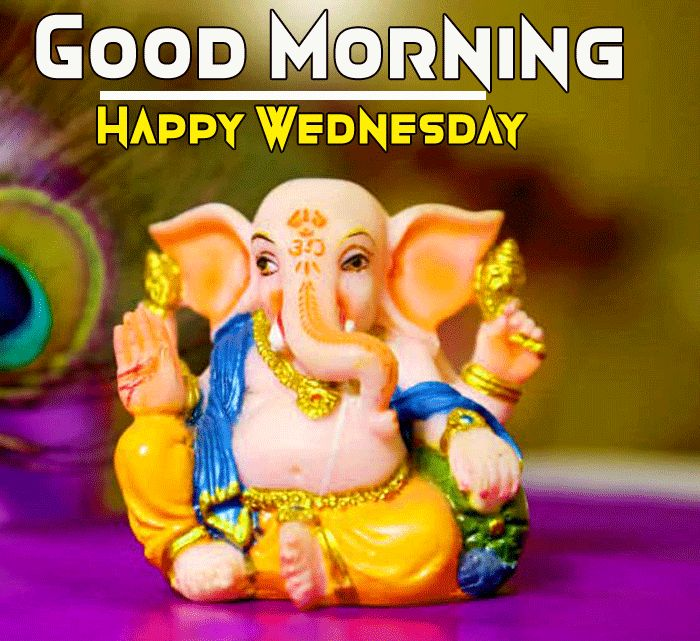 Ganesha Wallpaper with happy good morning and happy wednesday