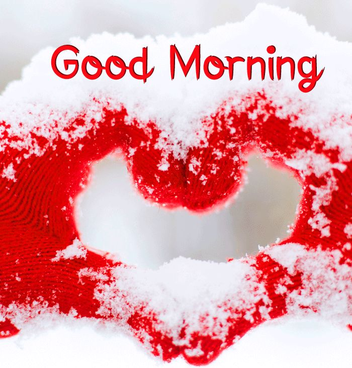 love heart snow Good Morning images hd