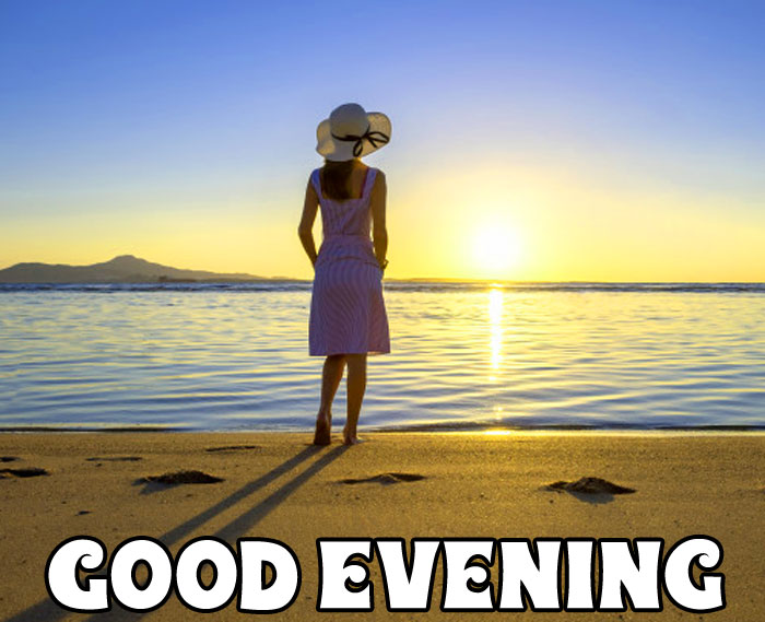 young woman sunset Good Evening photo hd