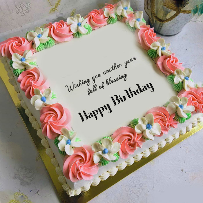 Happy Birthday Blessing pink cake images hd