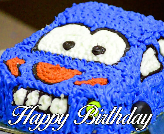 blue cake Happy Birthday Cartoon photo