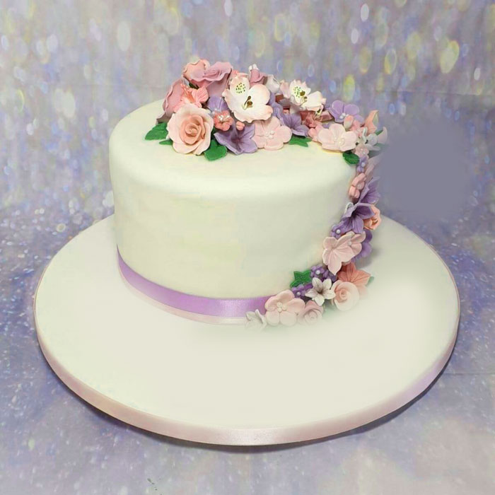 floral cake Happy Birthday female images hd