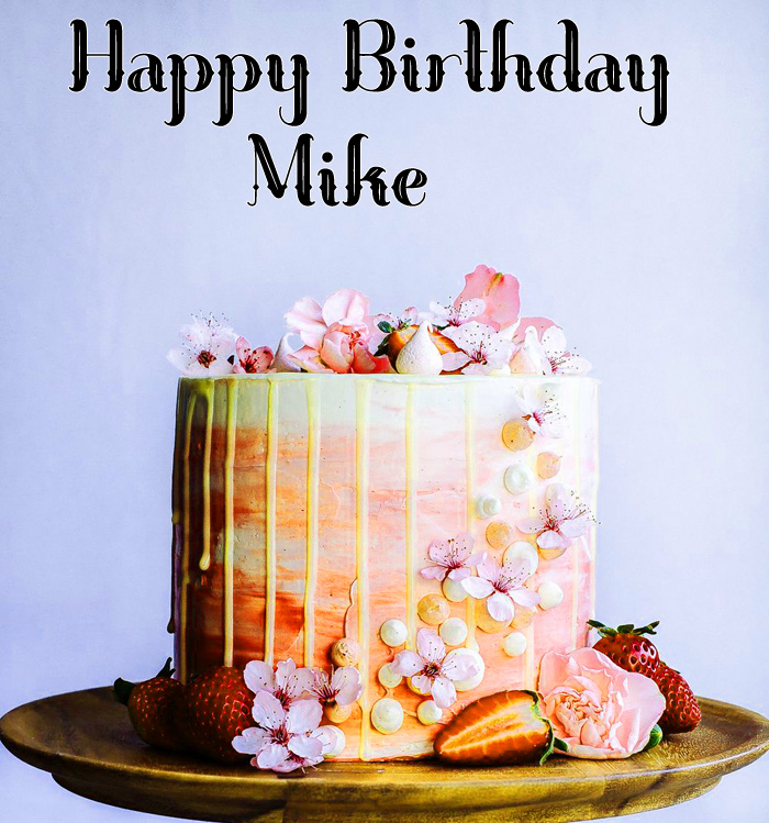 latest Happy Birthday Mike pink cakes images