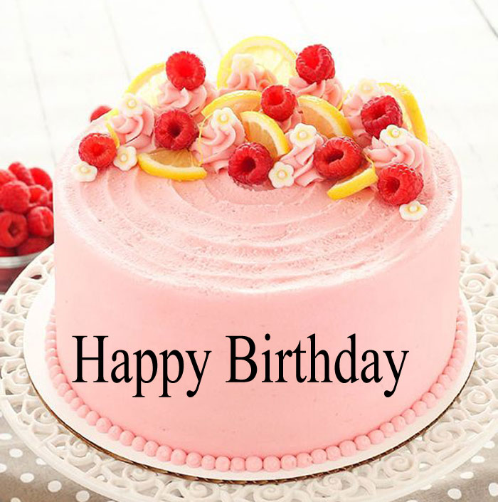 latest pink cake Happy Birthday female images hd