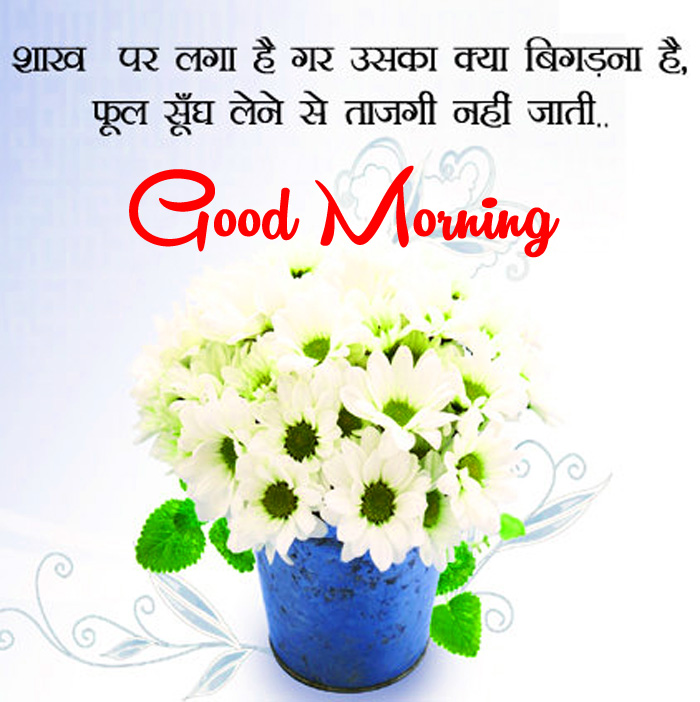 latest white flower Good Morning in hindi pics hd