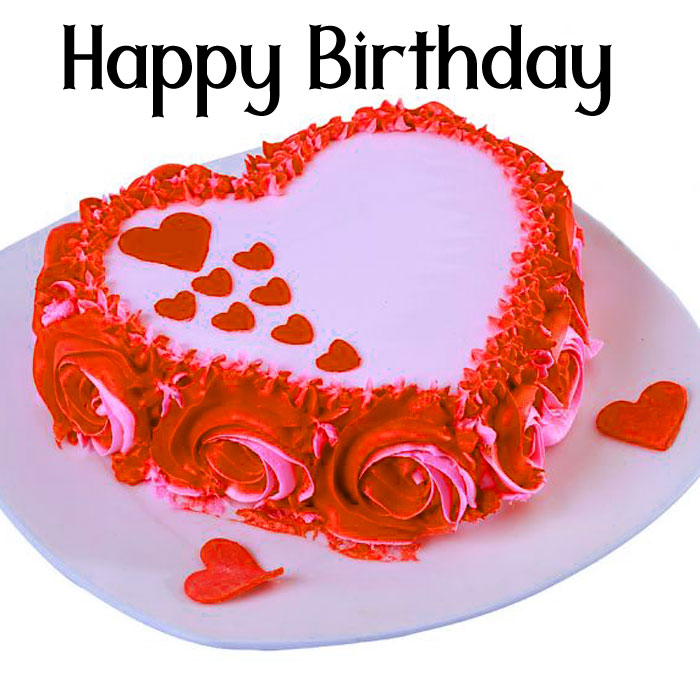red Happy Birthday female cake images