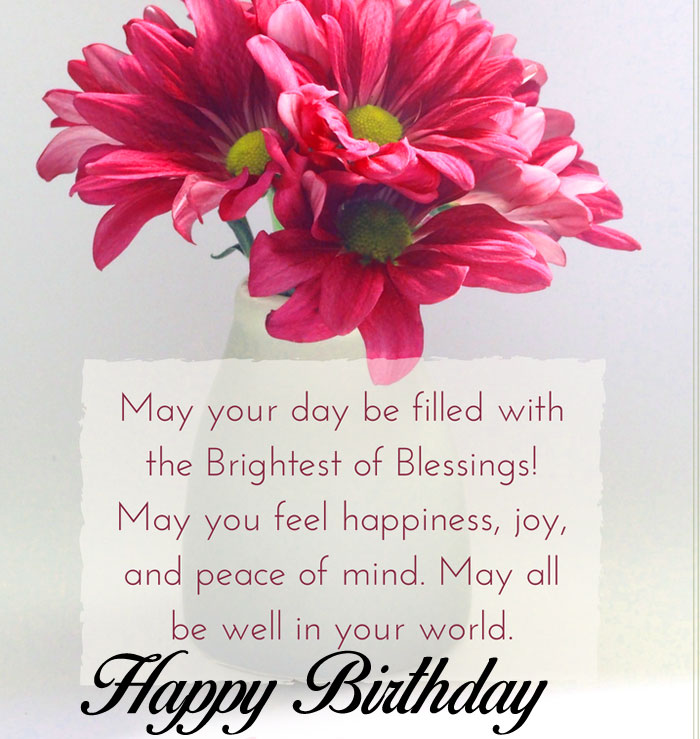 red flower Happy Birthday Blessing images hd