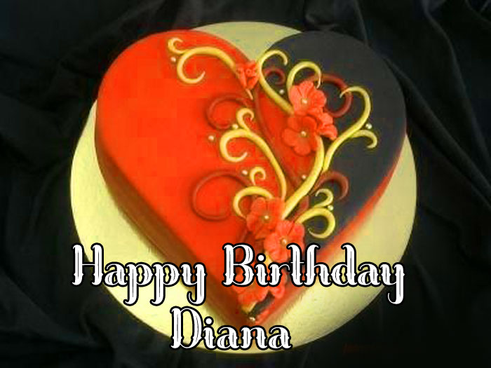 red fower cake Happy Birthday diana images hd
