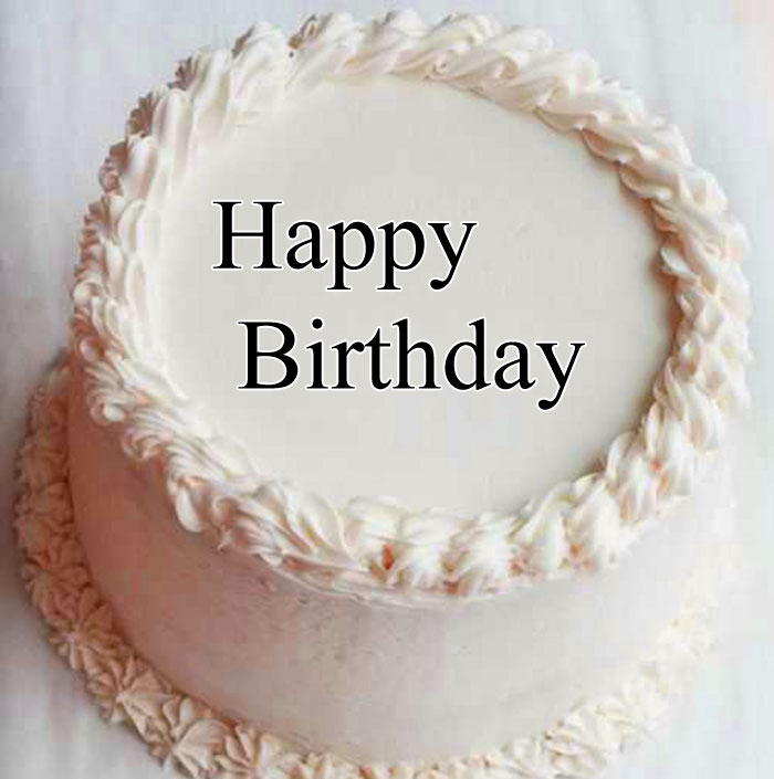 white cake Happy Birthday female photo
